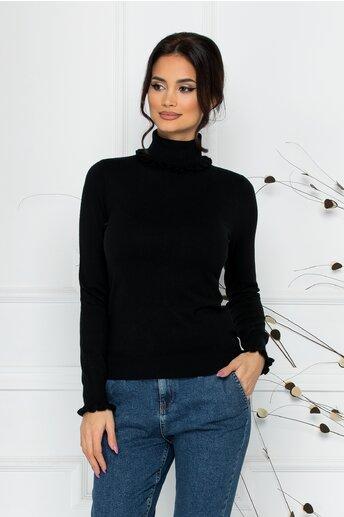 Bluza Cara neagra cu guler si mansete incretite