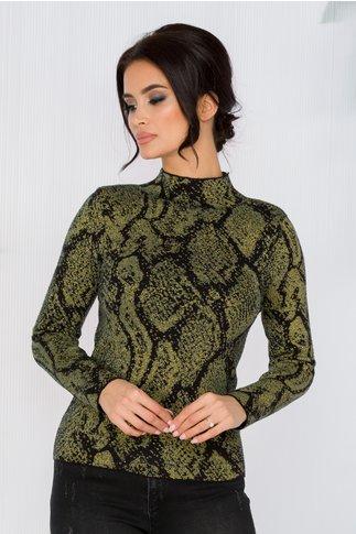 Bluza Carina verde cu imprimeuri negre si insertii din fir auriu