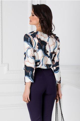 Bluza Carlita alba cu imprimeuri bleumarin
