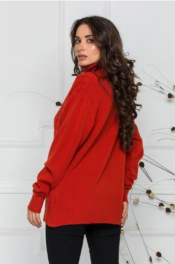 Bluza Carmen caramizie cu guler inalt si design impletit