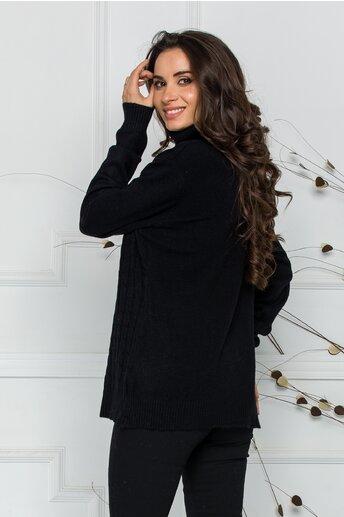 Bluza Carmen neagra cu guler inalt si design impletit