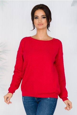Bluza Carolina rosie din reiat cu insertii din fir lurex