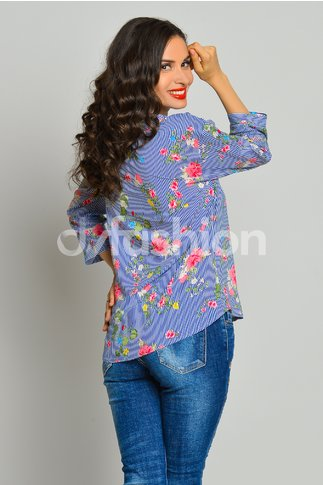 Bluza Casia in Dungi si Floricele Roz