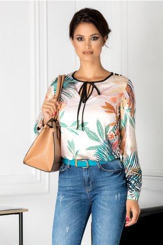 Bluza casual ivory cu print exotic