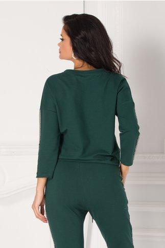 Bluza casual verde cu imprimeu