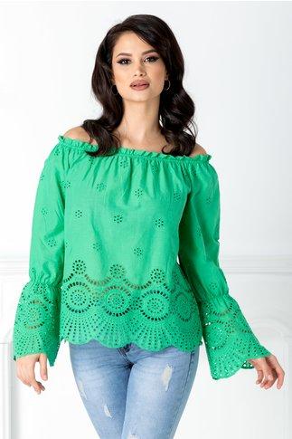 Bluza casual verde cu umerii lasati si decupaje