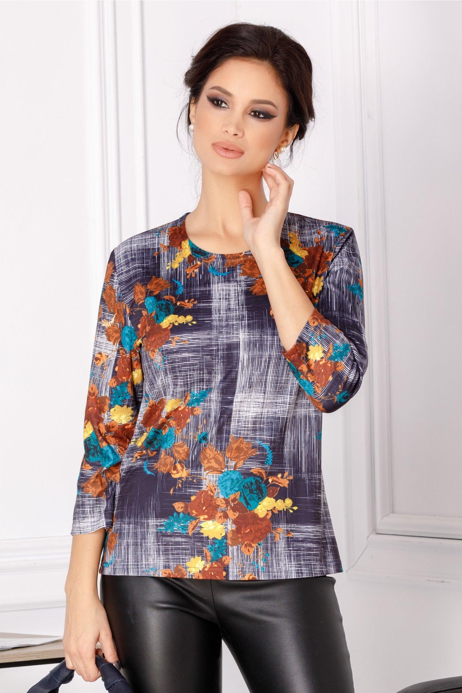 Bluza Cata bleumarin cu imprimeu floral