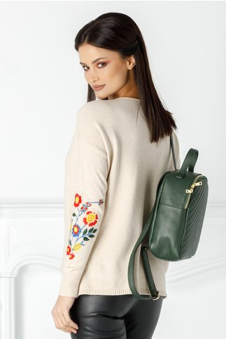 Bluza Catalina bej cu broderie florala la maneci