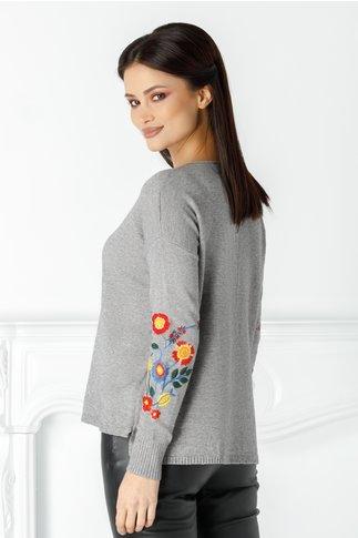 Bluza Catalina gri cu broderie florala la maneci