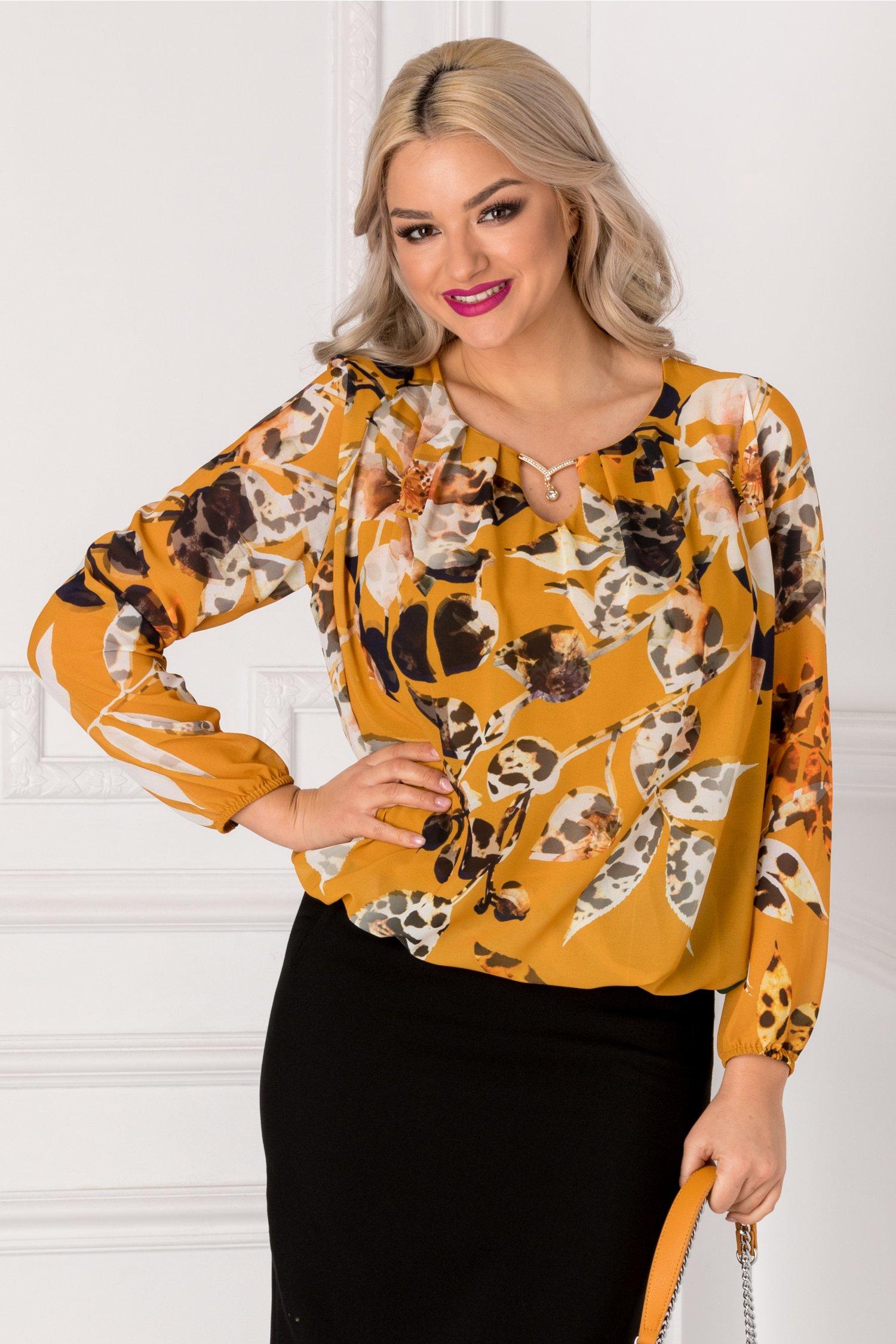 Bluza Cate galbena cu imprimeu floral multicolor