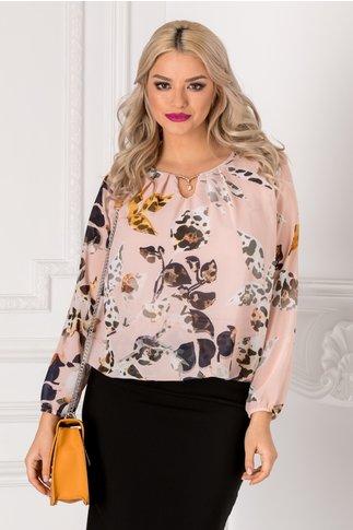 Bluza Cate roz cu imprimeu floral si accesoriu