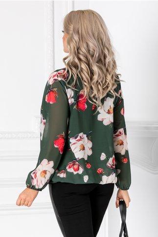 Bluza Cate verde cu imprimeu floral