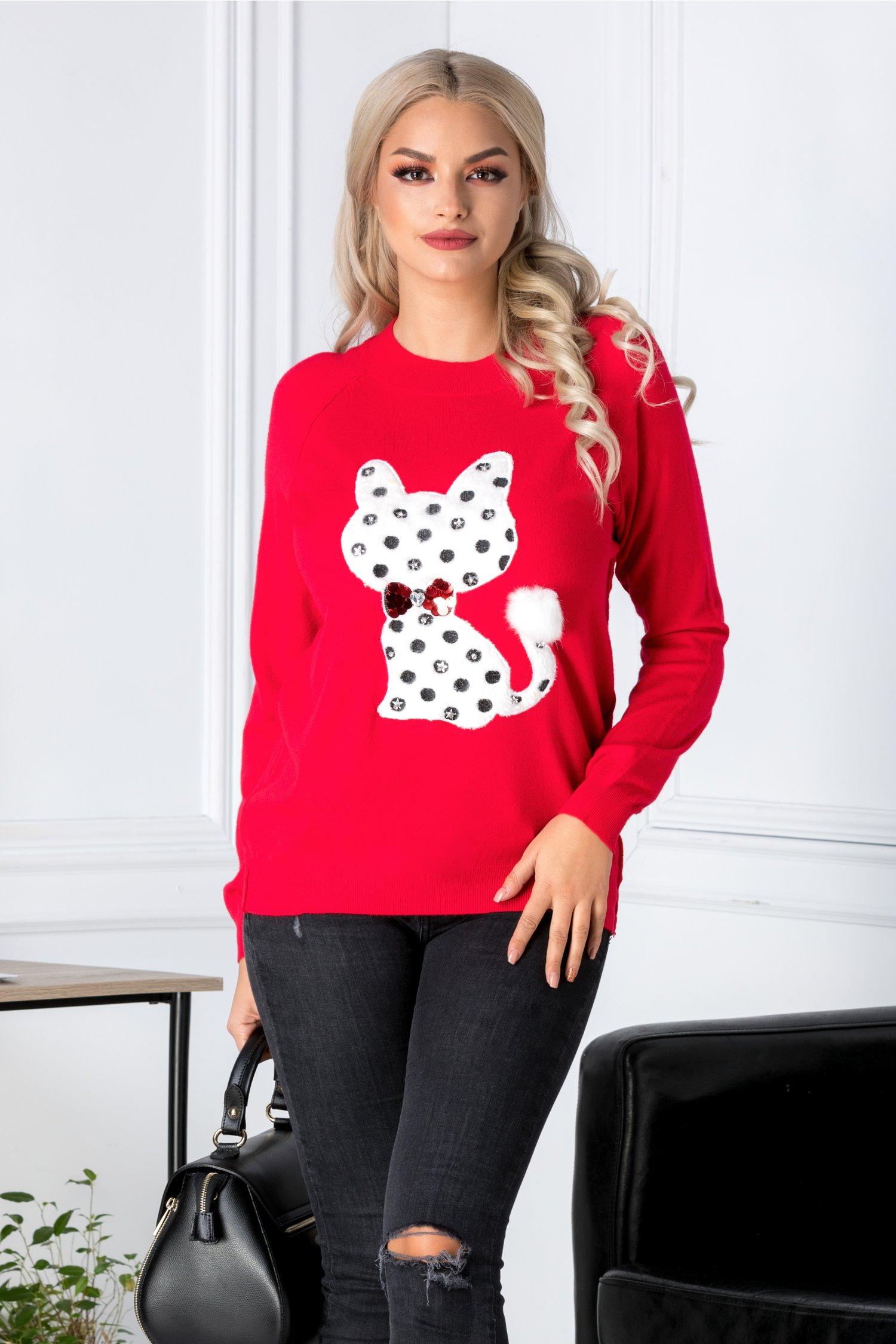 Bluza Cati rosie cu pisica pufoasa