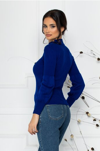 Bluza Catrina albastra cu baza manecilor bufanta