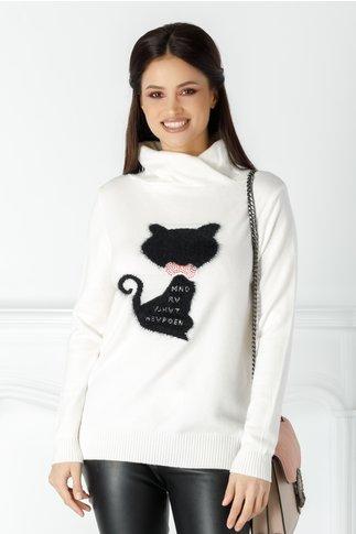 Bluza Caty alba cu pisicuta la bust