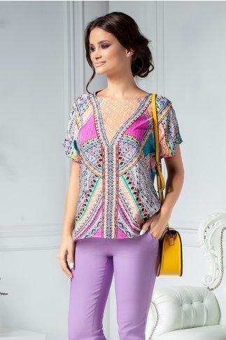 Bluza Caty casual cu imprimeuri colorate