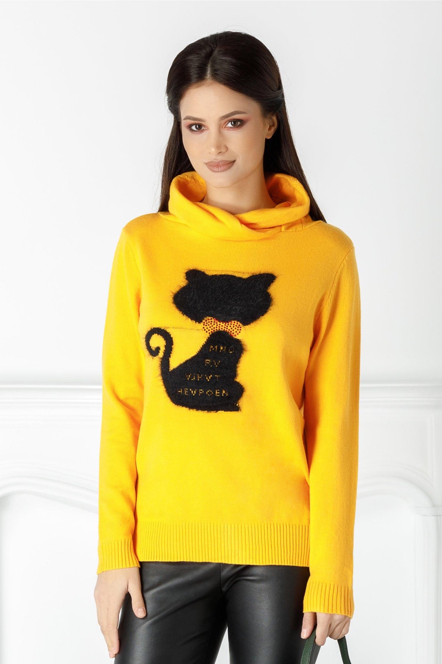 Bluza Caty galbena cu pisicuta la bust