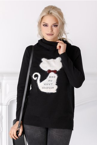 Bluza Caty neagra cu pisicuta la bust