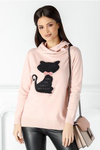 Bluza Caty roz pal cu pisicuta la bust
