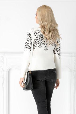 Bluza Catya alba cu imprimeu negru