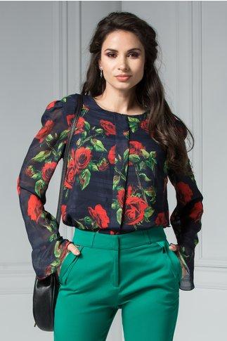 Bluza Ceri cu maneci lungu bleumarin cu imprimeu floral
