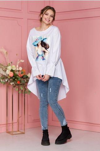 Bluza Chaddy alba cu imprimeu si lungime asimetrica