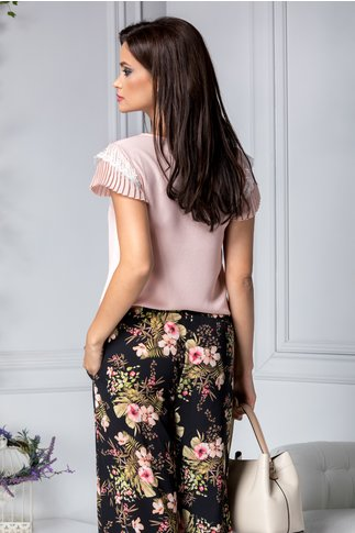 Bluza Charlotte rose cu manecute incretite
