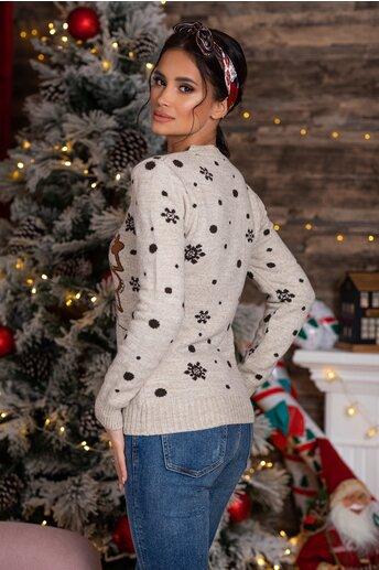 Bluza Christmas bej cu imprimeu de iarna