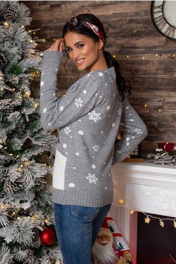 Bluza Christmas gri cu imprimeu de iarna
