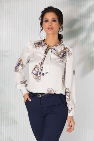 Bluza Claire alba cu imprimeu divers