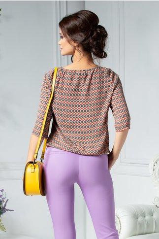 Bluza Claire bej cu imprimeuri orange