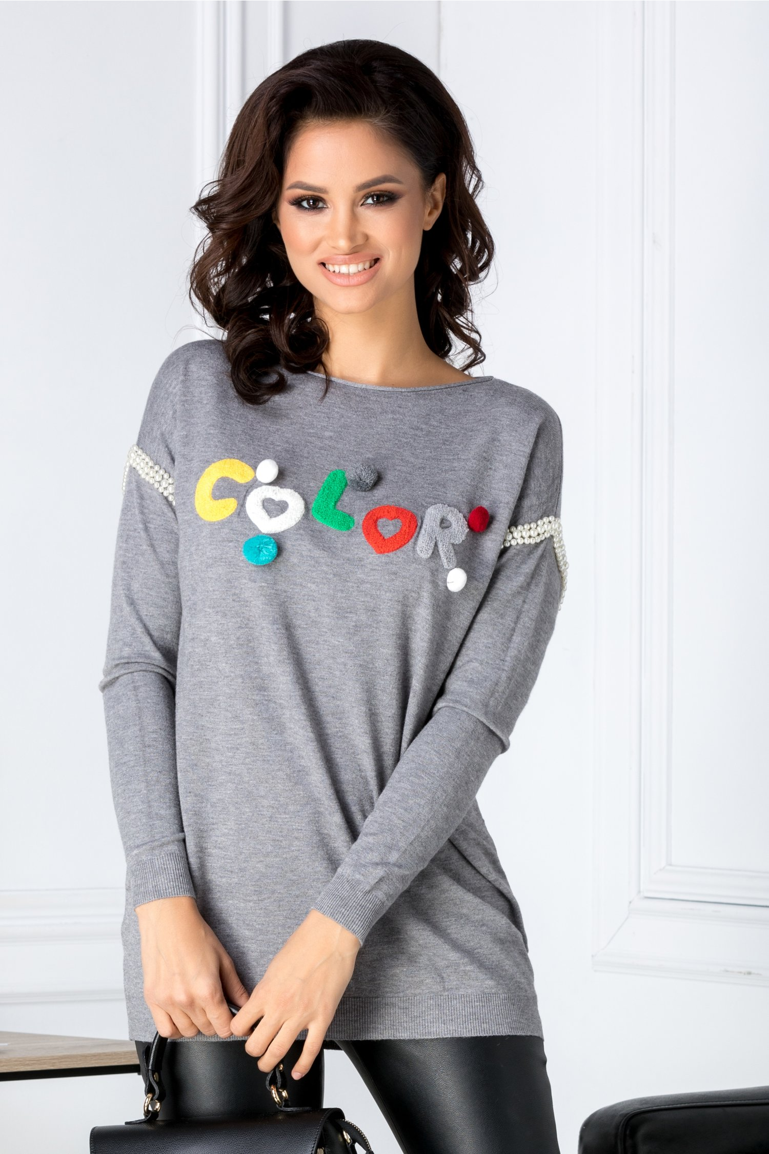 Bluza Color gri cu aplicatii 3D pufoase