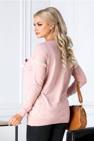 Bluza Color roz cu aplicatii 3D pufoase