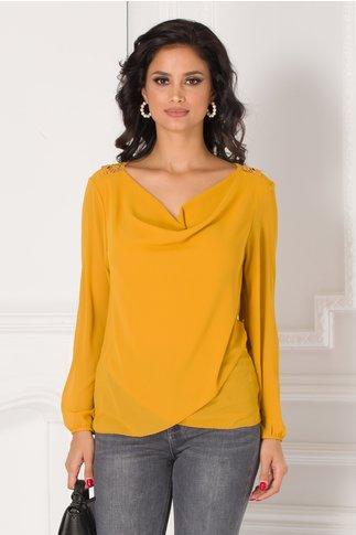 Bluza Cori galben mustar cu broderie la spate