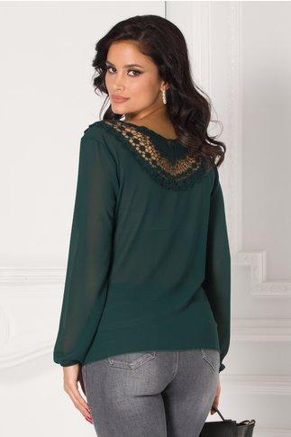Bluza Cori verde inchis cu broderie la spate