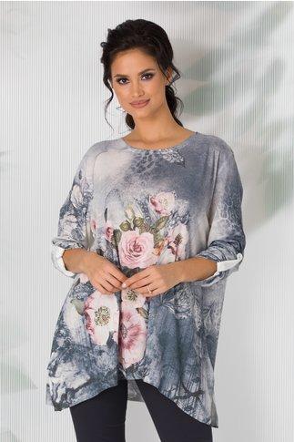 Bluza Cosso gri in degrade cu imprimeu floral