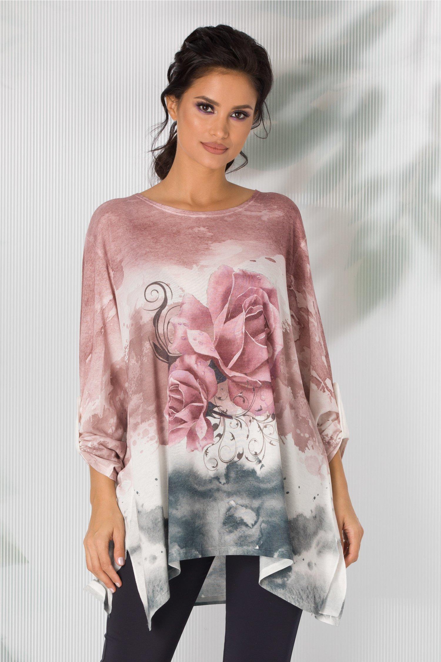Bluza Cosso roz in degrade cu trandafiri
