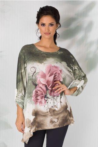 Bluza Cosso verde in degrade cu trandafiri