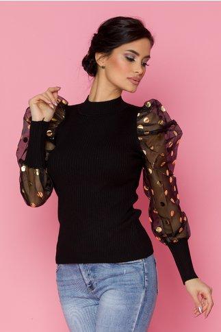 Bluza Criss neagra cu maneci din organza cu buline aurii