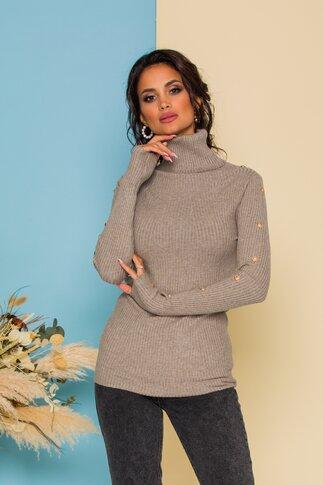 Bluza Cristina gri din tricot accesorizata cu nasturi aurii decorativi