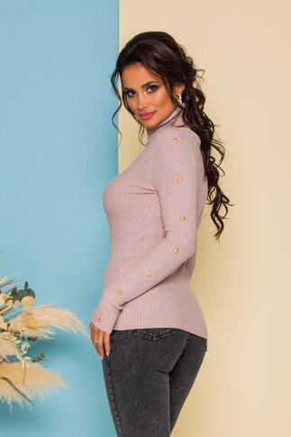 Bluza Cristina lila prafuit din tricot accesorizata cu nasturi aurii decorativi