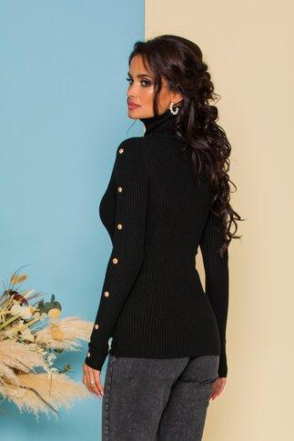 Bluza Cristina neagra din tricot accesorizata cu nasturi aurii decorativi