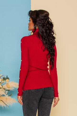 Bluza Cristina rosie din tricot accesorizata cu nasturi aurii decorativi