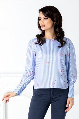 Bluza cu dungi albastre si flamingo roz