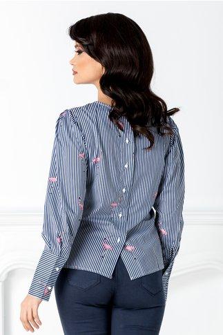 Bluza cu dungi bleumarin si flamingo roz