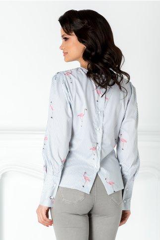 Bluza cu dungi gri si flamingo roz