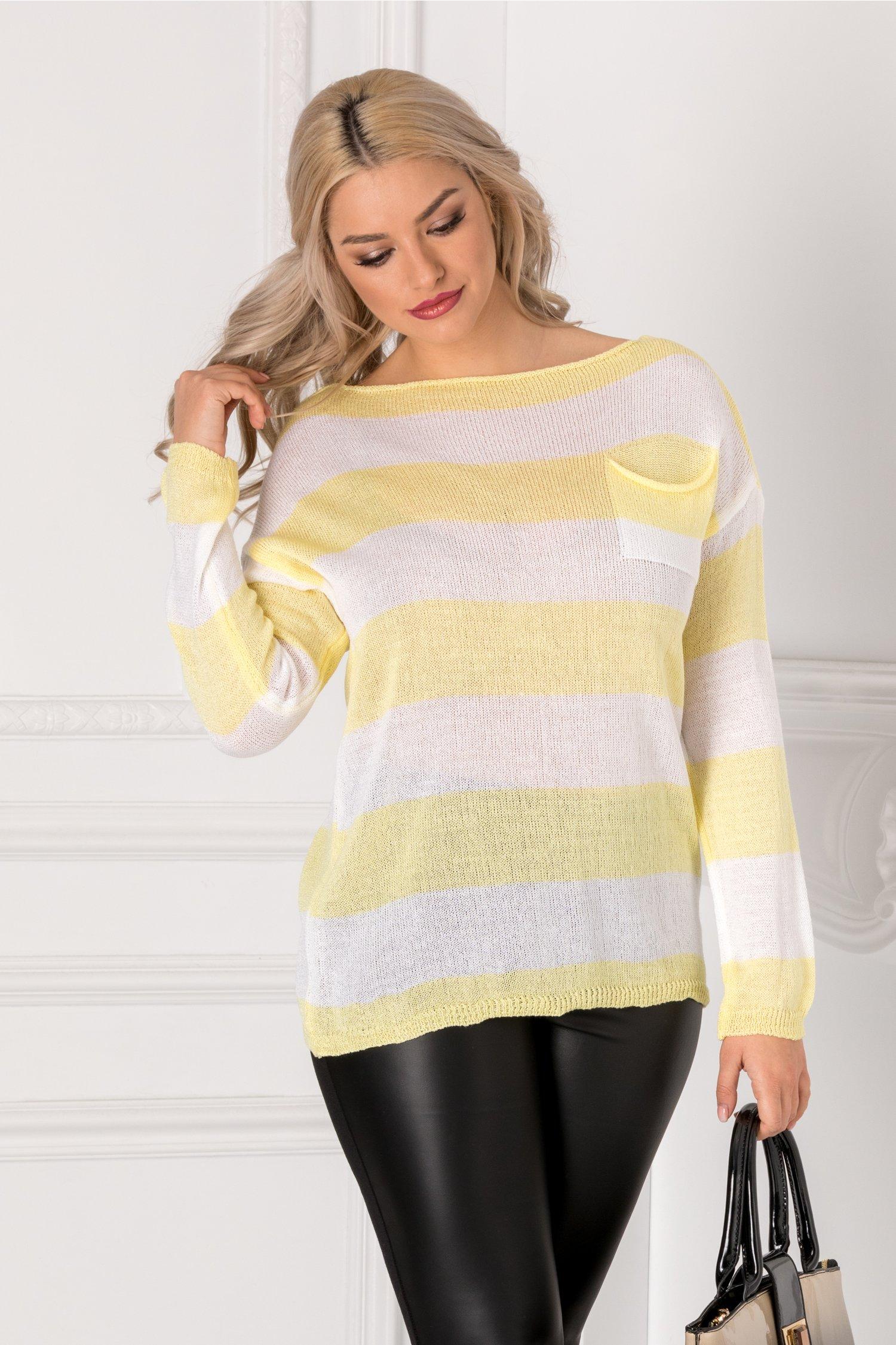 Bluza cu dungi orizontale galbene si albe