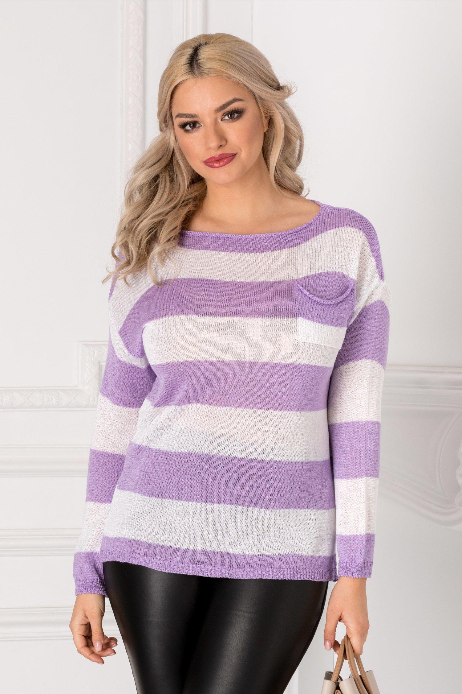 Bluza cu dungi orizontale lila si albe
