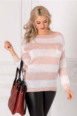 Bluza cu dungi orizontale roz si albe