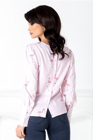 Bluza cu dungi si flamingo roz